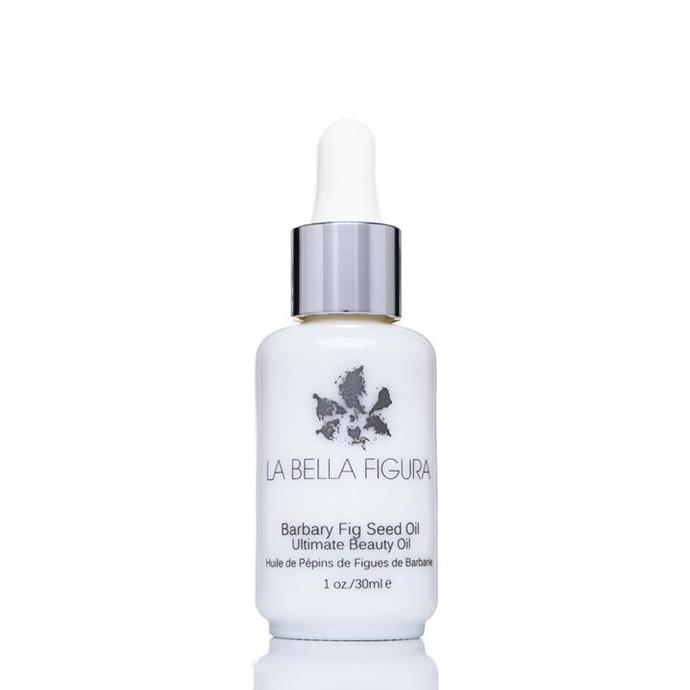 "Barbary Fig Seed Oil by La Bella Figura, approximately AUD $130 from [La Bella Figura](https://www.labellafigurabeauty.com/products/organic-barbary-fig-seed-oil|target=""_blank""