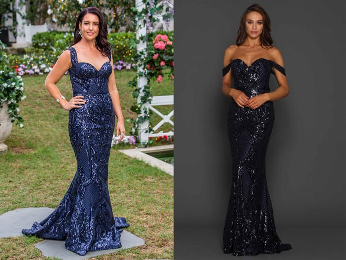 "Jessie in the 'Harris' gown, $499.95 by [Elle Zeitoune at After Dark](https://www.afterdark.com.au/shop/black-tie-gowns/ezl081-harris-gown/|target=""_blank""