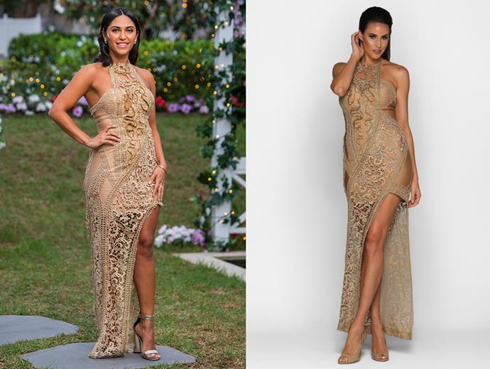 "Sogand in the 'Parthenia' gown by Galanni, hire for $250 at [My Dress Affair](https://www.mydressaffair.com.au/other-info-dresses/floor-length/galanni-parthenia|target=""_blank""