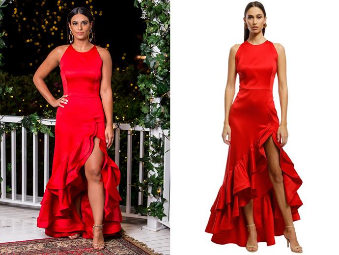 "Danush in the 'Frida' dress by Bronx and Banco, $565 at [Glam Corner](https://www.glamcorner.com.au/designers/bronx-and-banco/frida-flame-dress-red#|target=""_blank""
