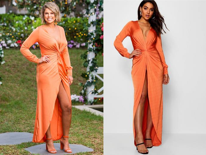 "Sophie in the 'Daria Twist' dress, $39 at [Boohoo](https://www.boohoo.com/daria-twist-front-plunge-slinky-maxi-dress/DZZ17437.html?color=105|target=""_blank""