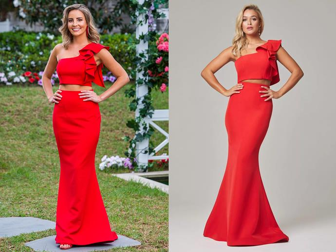 "Kristen in the 'Skyler' gown, POA by [Tania Olsen Design](https://www.taniaolsen.com.au/product/skyler/|target=""_blank""