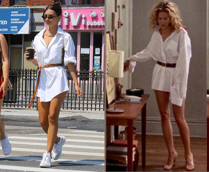 ***The 2019 version (complete with 'dad sneakers' and tiny glasses) of the belted white button-up***<br><br> Emily Ratajkowski and Carrie Bradshaw.