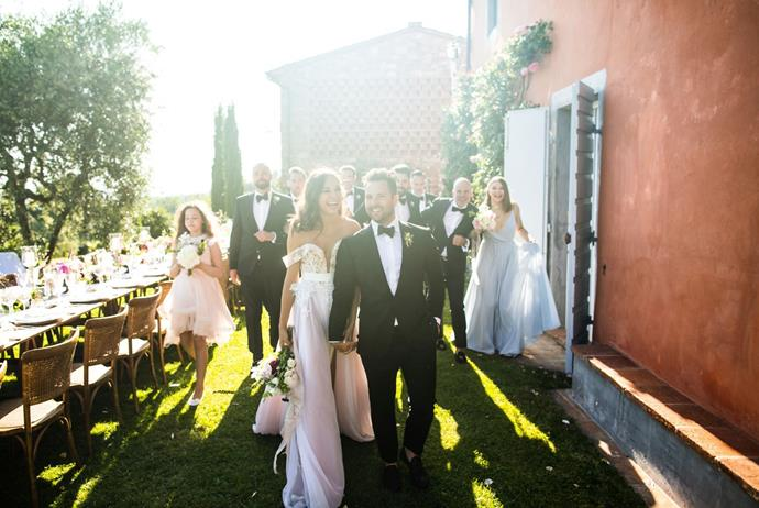**On the guests:** We were very selective when inviting people. We thought 'who are our friends, who do we want to have in our lives and share these intimate moment and build incredible memories with?'. Planning a wedding was an interesting experience because it showed us who our true friends are. We had 48 guests and six kids come to our wedding. Everyone travelled from all over the world: California, New York, Texas, Washington, Canada, Russia and Saudi Arabia. It was so humbling to have so many of our friends and family make an effort and travel across the world wanting to celebrate love and our union. Every single person who attended our wedding was so special, it is impossible to choose 'a favourite'. However, Ksenia's 80-year-old grandma from Russia who wore a fascinator, delivered a speech in English and danced the night away definitely stole the hearts.