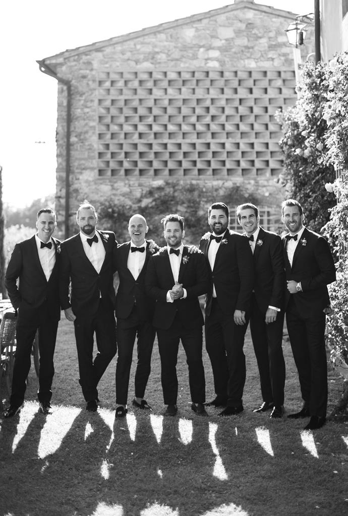 **On the groomsmen's looks:** Samuel asked his groomsmen to wear black suits, a white shirt with a hand-tied bowtie and loafers. He loved the idea of the groomsmen looking classic and timeless.