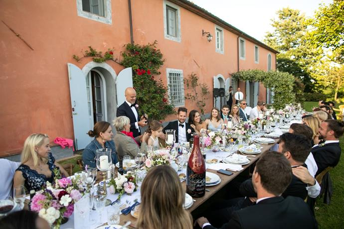 **On the style of the reception:** We wanted to have a sit-down formal dinner and indulge into fine Italian cuisine and wines while enjoying the views of the Tuscan hills and that perfect summer breeze. During the reception, we only planned to have our best man and maid of honour doing the speeches. It was a complete sweetest surprise to us that so many more of our friends and family wanted to speak, share their stories about us, say the kindest words and give us their blessings and best wishes. We couldn't stop crying happy tears and laughing at the same time. It was incredible.