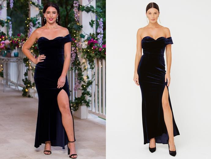 "Jessie wears the 'Royalty' gown, $219 by [Sheike](https://www.sheike.com.au/royalty-maxi-dress-blue|target=""_blank""