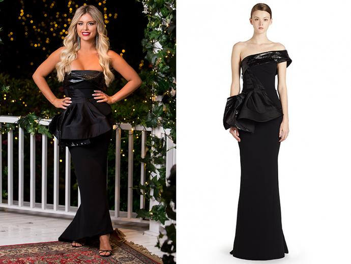 "Monique wears the 'Vigilante Gown' by Toni Maticevski, hire for $350 at [My Dress Affair](https://www.mydressaffair.com.au/other-info-dresses/floor-length/toni-maticevski-vigilante-gown-for-sale|target=""_blank""
