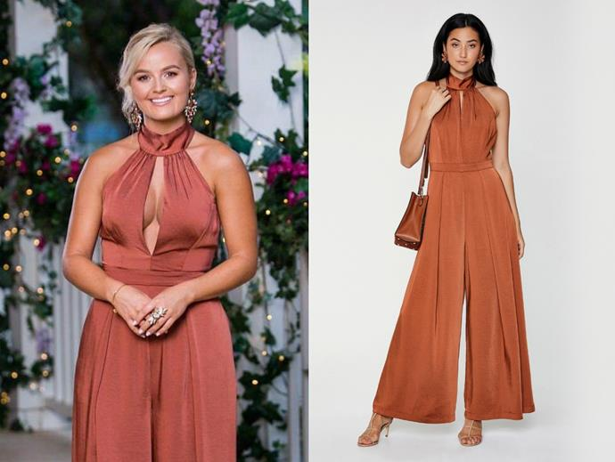 "Elly wears the 'Altantis' jumpsuit, $179.95 by [Sheike](https://www.sheike.com.au/atlantis-jumpsuit-brown|target=""_blank""