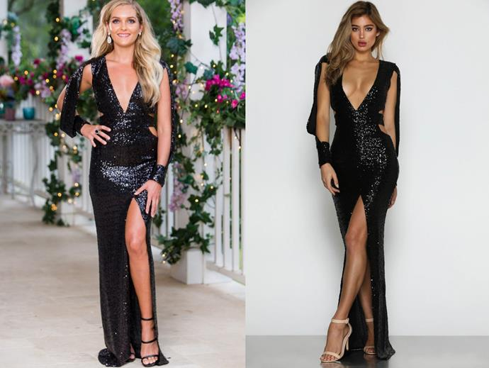 "Nichole wears the 'Verona' gown, $289 by [Micaah](https://www.micaah.com.au/products/verona-black-sequin-gown?_pos=1&_sid=d22e4b7f0&_ss=r|target=""_blank""