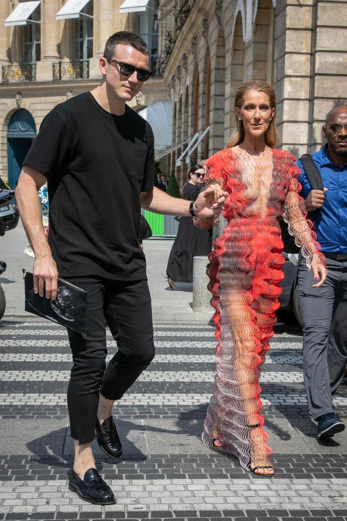 Muñoz and Dion at Couture Fashion Week in Paris in July 2019.