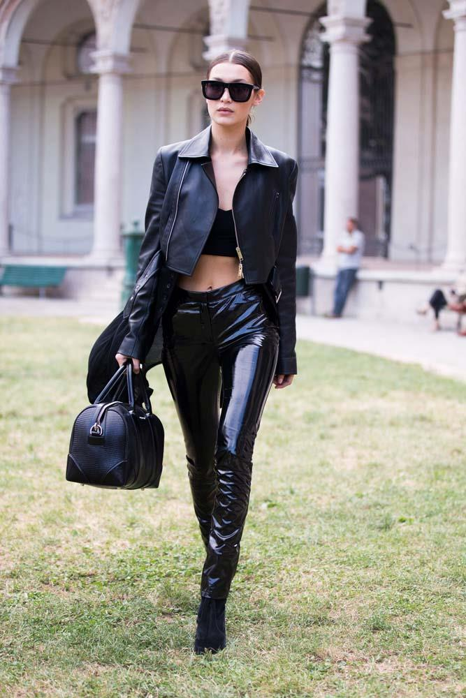 Crop tops and leather.