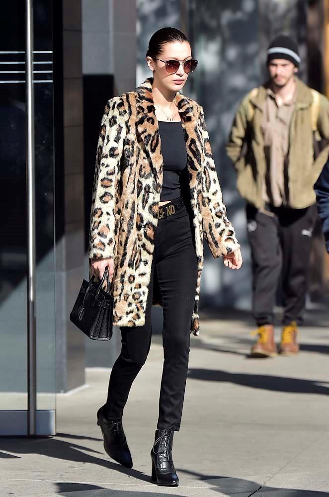 Faux fur leopard print coats.