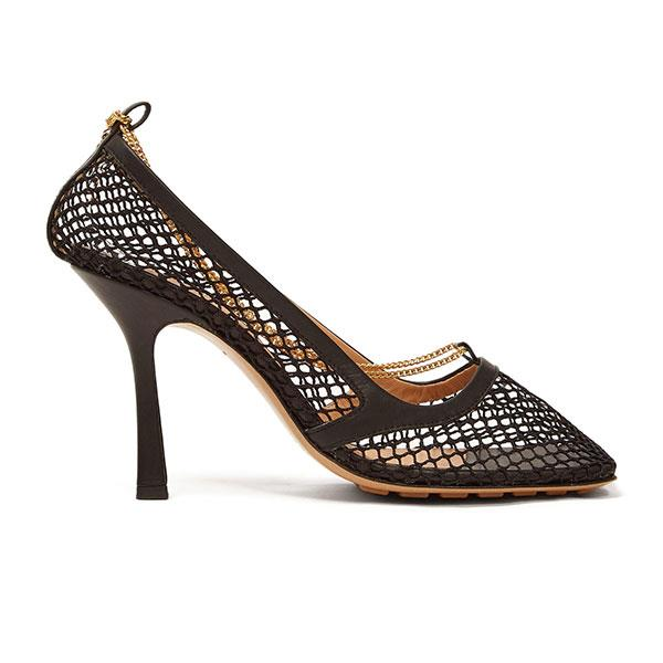 "Shoes by Bottega Veneta, $1,230 at [MATCHESFASHION.COM](https://www.matchesfashion.com/au/products/Bottega-Veneta-Chain-embellished-mesh-pumps-1282848|target=""_blank""