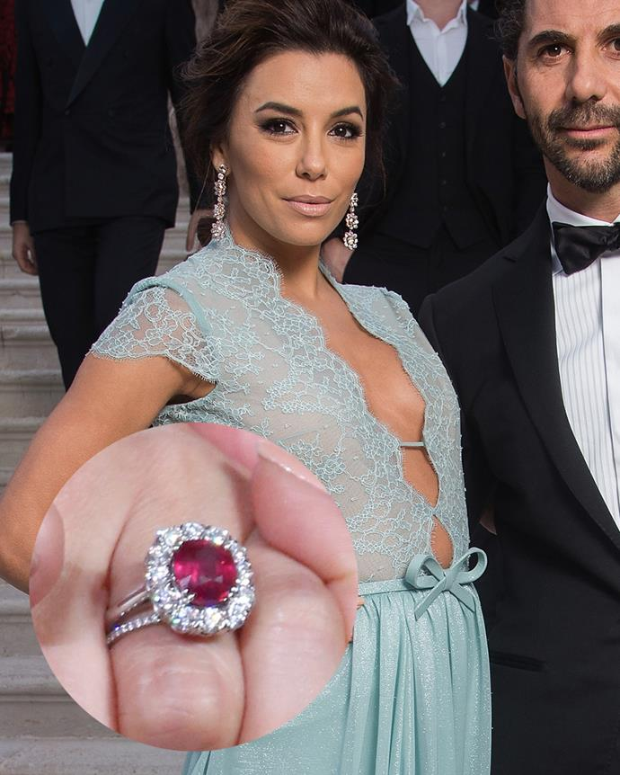 ***Eva Longoria***<br><br> Longoria's round-cut ruby sits in the middle of a diamond halo and was gifted to her by husband Jose Antonio Baston in 2015.