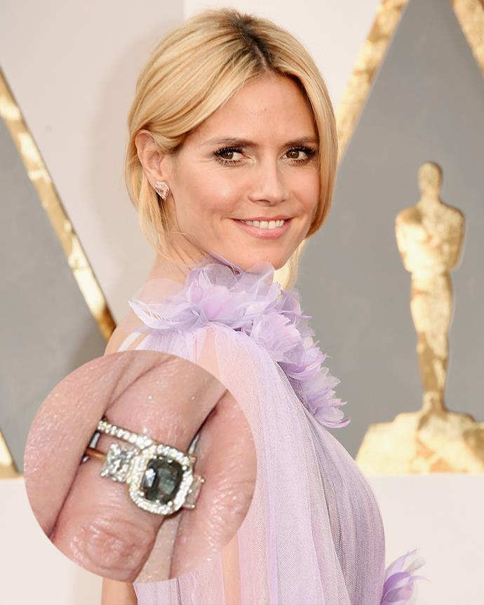 ***Heidi Klum***<br><Br> Clearly not one for traditional stones, Klum's second engagement ring from Tom Kaulitz features a dark diamond or emerald in a gold setting.