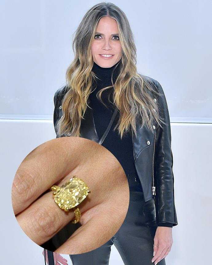 ***Heidi Klum***<br><Br> For her marriage to Seal, Heidi Klum wore a yellow diamond on a yellow-gold band, which created quite a striking effect.