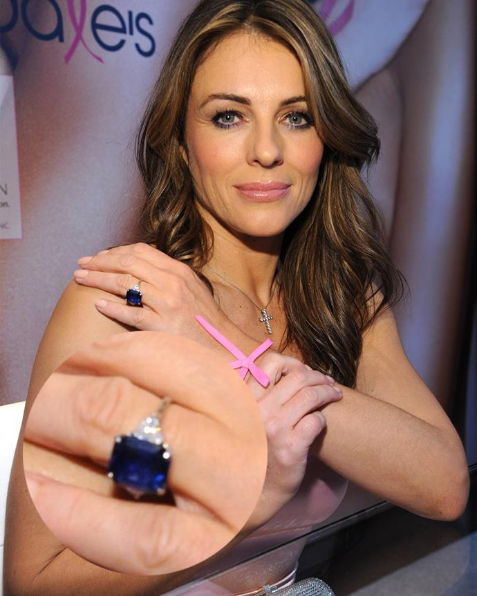 ***Liz Hurley***<br><bR> For her brief engagement to cricketing star Shane Warne, Liz Hurley wore this nine-carat square-cut sapphire flanked with trillion-cut diamonds.