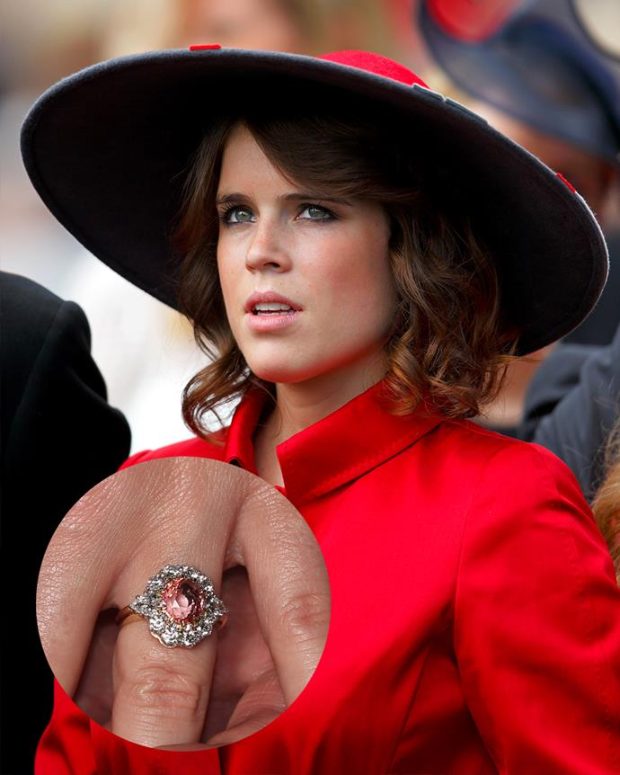 """***Princess Eugenie***<br><br> After her boyfriend, Jack Brooksbank, proposed without a ring, he and Princess Eugenie worked on a design together. They echoed her mother's famous floral-ring and opted for a """"salmon-pink Padparadscha sapphire"""" surrounded by a halo of diamonds."""