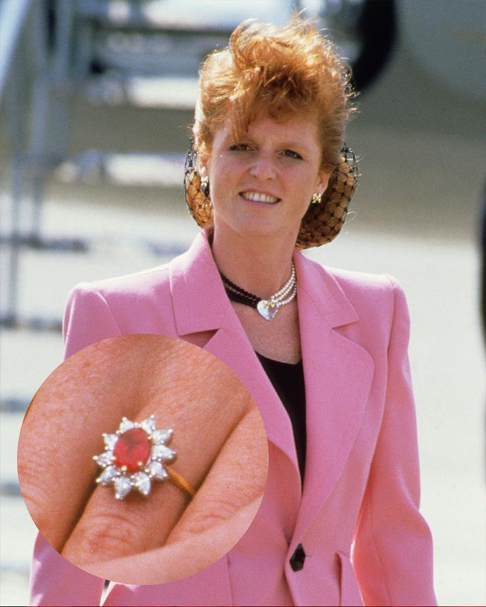 """***Sarah, Duchess of York***<br><br> Following on in her sister-in-law, Diana's, footsteps, Sarah Ferguson reportedly requested a ruby ring """"to match her hair."""" The ring consists of an oval-shaped Burmese ruby surrounded by 10 marquise diamonds."""