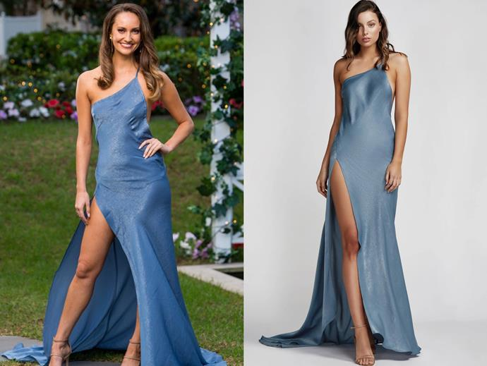 "Emma wears the 'Izabel' dress, $349 by [Lexi Clothing](https://lexiclothing.com.au/collections/all/products/izabel-dress-light-blue|target=""_blank""