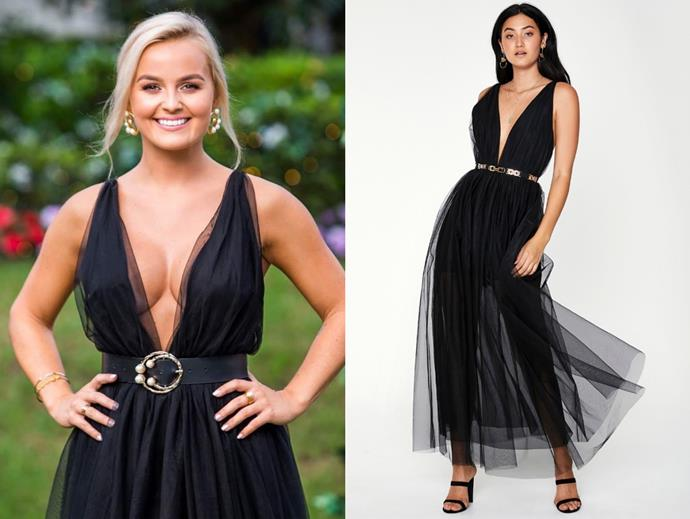 "Elly wears the 'Anatasia' dress, $199.95 at [Sheike](https://www.sheike.com.au/anastasia-maxi-dress-black|target=""_blank""