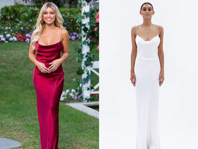 "Monique wears the 'Virgo' dress, $680 by [Natalie Rolt](https://www.natalierolt.com/collections/made-to-order/products/virgo-gown?variant=8195498147929|target=""_blank""