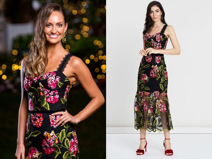 "Emma wears the 'Cordelia' dress by Bronx & Banco, $241 at [The Iconic](https://www.theiconic.com.au/cordelia-midi-dress-780794.html|target=""_blank""