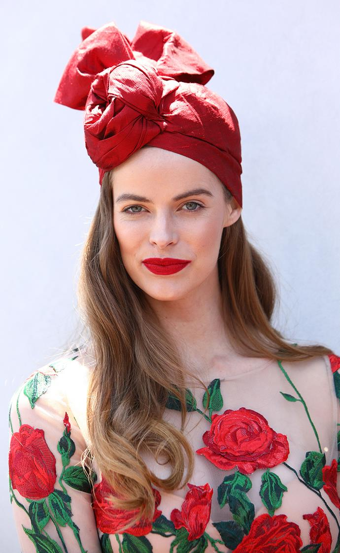 **Robyn Lawley at Oaks Day, 2017** <br><br> Power pout: Lawley's classic red lip lends her look a timeless, confident appeal. Make like Lawley and keep the rest of the face fresh.