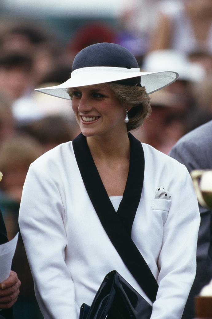 **Princess Diana at Melbourne Cup Day, 1985** <br><br> Princess Diana's refreshing, less-is-more take on race-day makeup underscored her natural beauty and placed focus on her considered outfit details. Forever a style icon.