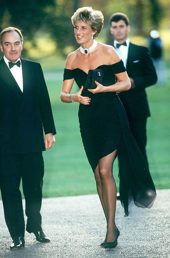 **Princess Diana (1994)** <br><br> On the same day that Prince Charles came clear about his affair with Camilla, Duchess of Cornwall (then Camilla Parker Bowles), Diana snatched the global headlines by wearing this royal 'revenge dress' by Greek designer Christina Stambolian. <br><br> It's since become one of the most iconic dresses of all time, and marked Diana's newfound independence from the royal family.