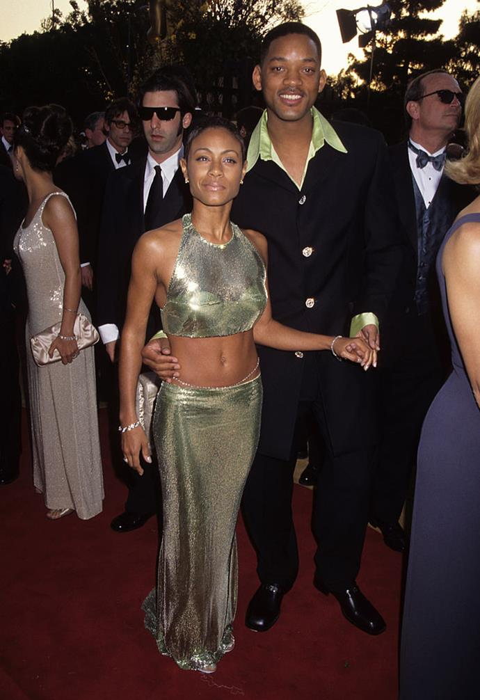 "**Jada Pinkett-Smith (1997)** <br><br> In the same year she married her husband, Will Smith, Jada Pinkett-Smith attended the 1997 Academy Awards in a stunning lamé two-piece ensemble, which showed her neon underwear underneath. <br><br> In 2019, actress Zoë Kravitz wore her own version of the look to the *Vanity Fair* [Oscar Party](https://www.harpersbazaar.com.au/fashion/oscars-after-party-2019-18177|target=""_blank""