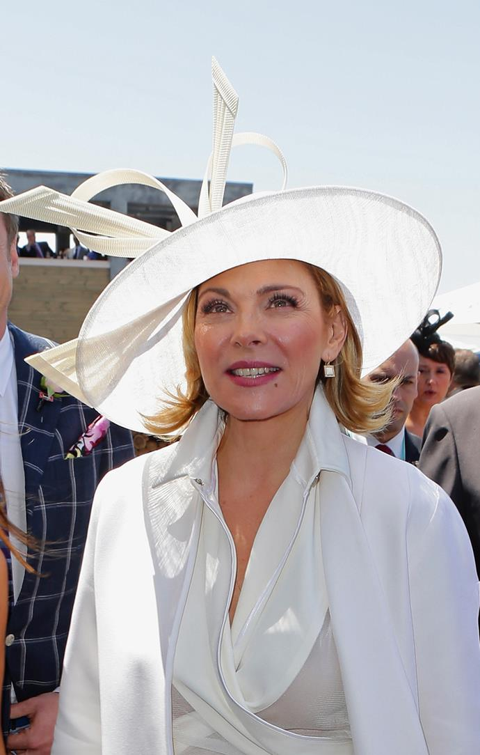 **Kim Cattrall at Oaks Day, 2012** <br><br> Ditch the matte foundation and embrace the shine—as seen by Kim Cattrall, glossy skin will evoke a more natural, youthful tone.
