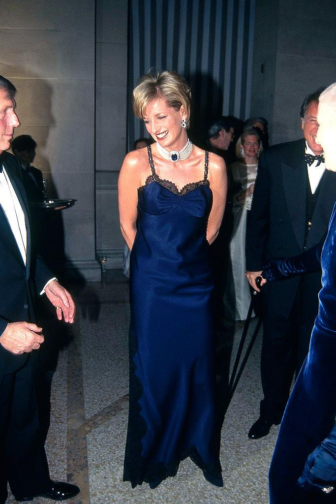 **Princess Diana (1996)** <br><br> Diana attended the 1996 Met Gala in New York wearing a custom lingerie-style gown by John Galliano for Dior. The sleeveless, lacy gown was risqué for a royal family member—but Diana made it look as graceful as ever.