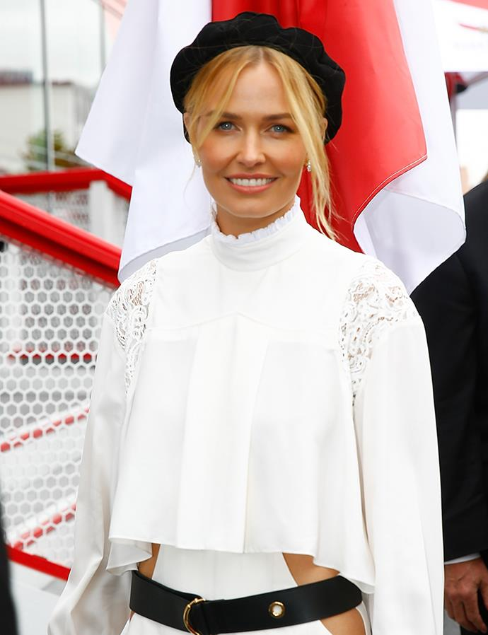 **Lara Worthington at Melbourne Cup Day, 2018** <br><br> At the 2018 Melbourne Cup, Lara Worthington's face-framing tendrils afforded her all-white ensemble an undone air. Paired with minimal eye makeup and a soft-pink lip, the beauty entrepreneur's clear, sun-kissed complexion was able to shine.