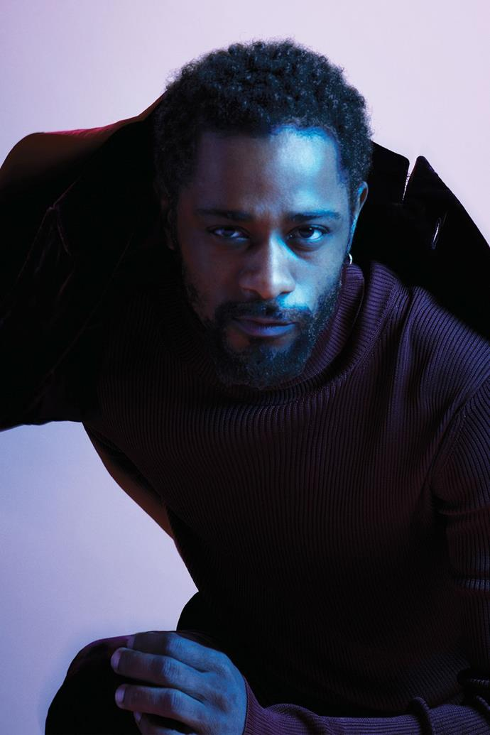 **Lakeith Stanfield** <br><br> In a Tom Ford jacket, knit, and trousers, and Stanfield's own earring.