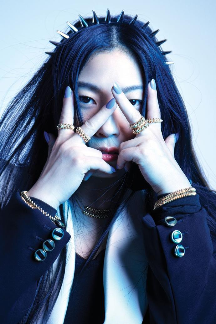**Awkwafina** <br><br> In a Gucci jacket and suspenders (worn as headband), a Falke bodysuit, and Cartier rings, necklaces, and bracelets.