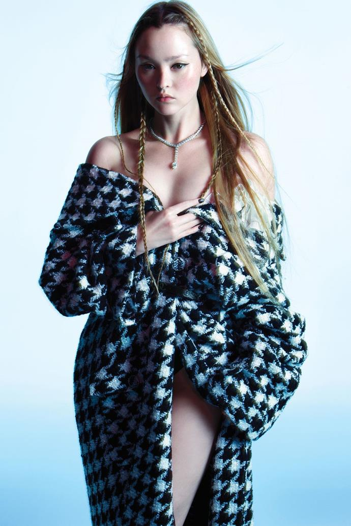 "**Devon Aoki** <br><br> In a Chanel coat, scarf (styled on coat), and belt, Maison Alice Cadolle briefs, and a Cartier necklace. <br><br> *This article originally appeared on [Harper's BAZAAR](https://www.harpersbazaar.com/culture/features/g28497490/icons-cover-story-2019/|target=""_blank""