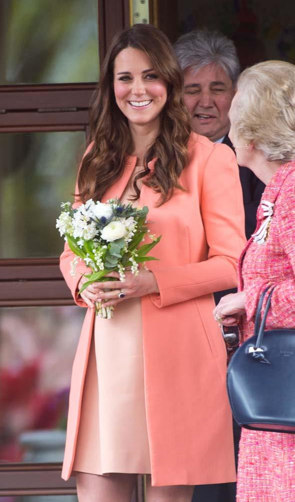 ***Orange***<br><Br> Given the amount of outfits Kate and her stylist put together, you'd think they'd have exhausted the colour-wheel. But, in fact, there is one colour Kate has never worn: orange. Or perhaps we should say *rarely* worn. There are two outfits that might be classified as orange at a stretch, one blood-orange coat bordering strongly on red and this apricot-peach ensemble in 2013.