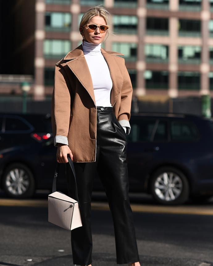 ***In: Leather Pants*** <br><br> But in 2020, bike shorts will be confined to the gym only. Opt for a pair of straight-leg leather pants to add a little panache to even the most simplistic of outfits.