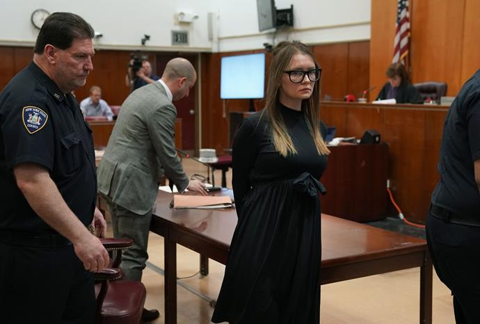 Anna Sorokin wearing Celine glasses to her sentencing in May 2019.