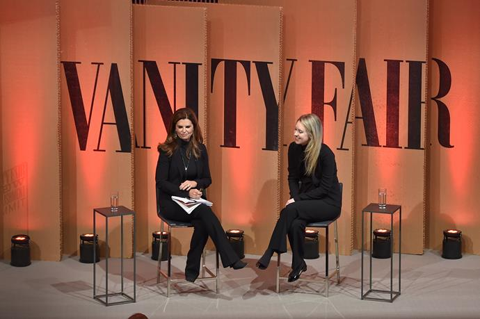 Elizabeth Holmes and Maria Shriver at the *Vanity Fair* New Establishment Summit in 2015.