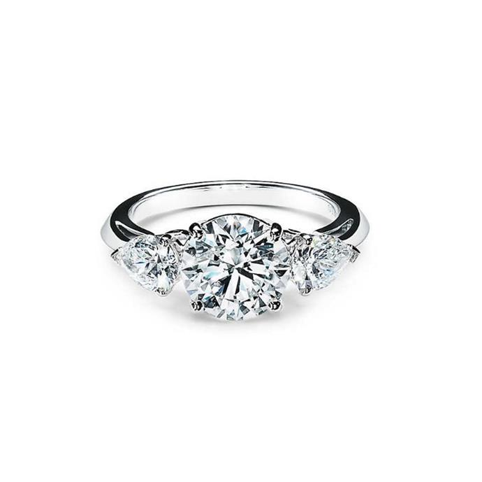 "Diamond and platinum ring, $228,000 by [Tiffany & Co.](https://www.tiffany.com.au/engagement/engagement-rings/tiffany-three-stone-engagement-ring-with-pear-shaped-side-stones-in-platinum-GRP10897/|target=""_blank""