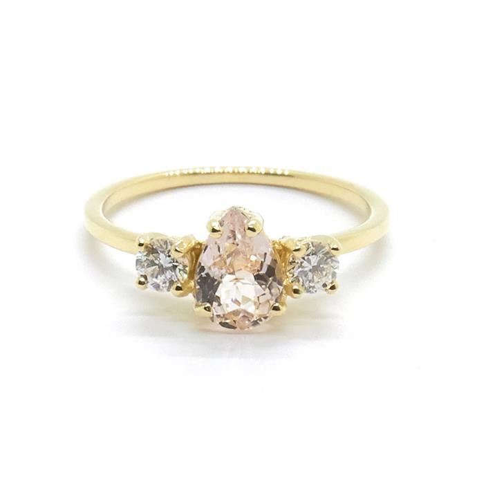 "Morganite, diamond and yellow gold ring, $1,645 by [Natalie Marie Jewellery](https://www.nataliemariejewellery.com/collections/engagement-rings/products/precious-pear-trio-ting|target=""_blank""