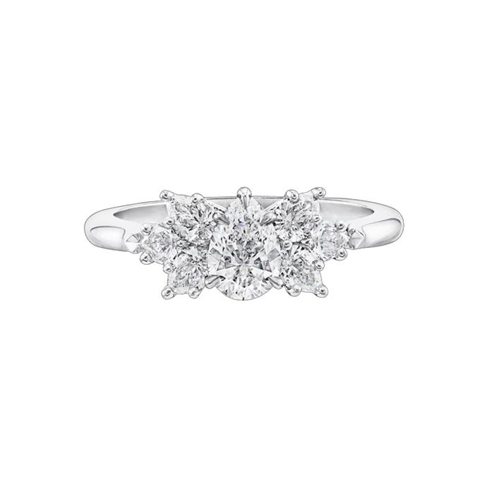 "Diamond and platinum ring, POA by [Harry Winston](https://www.harrywinston.com/en/pear-shaped-cluster-diamond-engagement-ring#|target=""_blank""