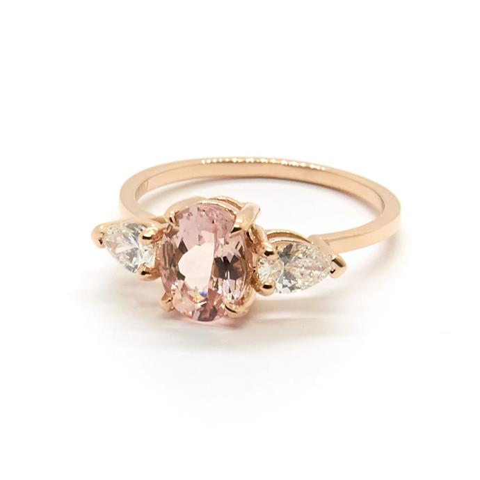 "Morganite, diamond and rose gold ring, $5,900 by [Natalie Marie Jewellery](https://www.nataliemariejewellery.com/collections/engagement-rings/products/stevie-ring-morganite-and-diamonds|target=""_blank""