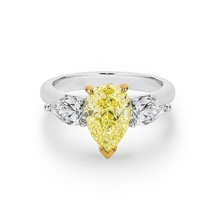 "Yellow and white diamond ring, POA by [Gregory Jewellers](https://www.gregoryjewellers.com.au/jewellery/rings/engagement-rings/fancy-yellow-pear-trilogy-diamond-ring-with-wide-ban.html|target=""_blank""