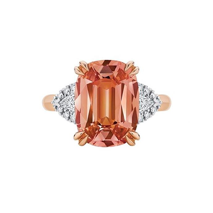 "Garnet and diamond ring, POA by [Larsen Jewellery](https://www.larsenjewellery.com.au/engagement-rings/other/malaya-rose-gold|target=""_blank""
