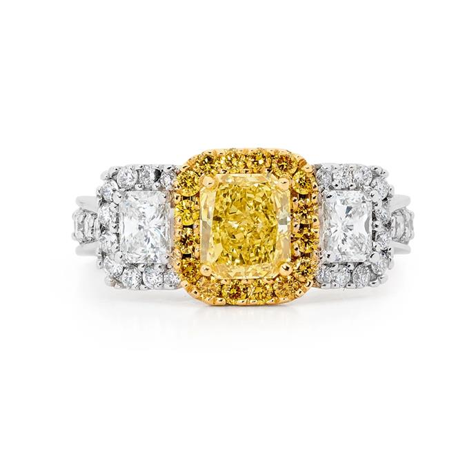 "Yellow and white diamond ring, POA by [Linneys](https://www.linneys.com.au/collections/engagement/products/radiant-cut-yellow-diamond-ring|target=""_blank""