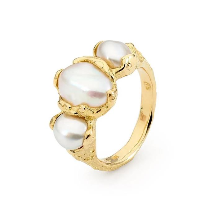 "Baroque pearl and yellow gold ring, $3,100 by [Linneys](https://www.linneys.com.au/collections/pearls/products/baroque-pearl-ring|target=""_blank""